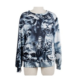 Punk Style Skull Print Fashion Round Collar Sweater