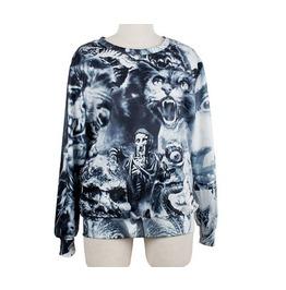 Punk Style Skull Print Fashion Round Collar Sweatshirts