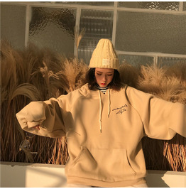 Hoodies Women Thicker Warm Trendy Sweatshirts Soft Letter Printed