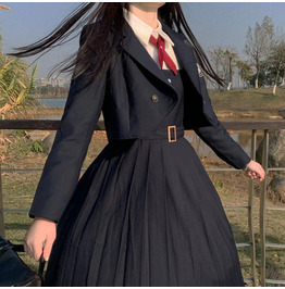 BLAZER PATCHWORK COLLAR DRESSES LFMY 6675 KAWAII JK SCHOOL UNIFORMS