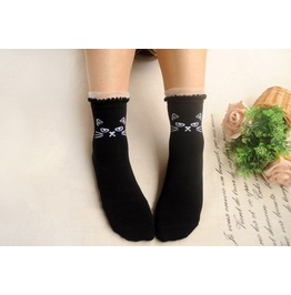 Lace Trim Cat Socks Black