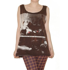 Kate Moss Nude Bleached Brown Tank Top Shirt Size M