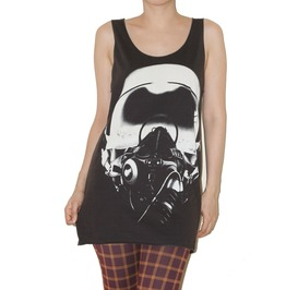 Helmet Pilot Charcoal Black Punk Rock Tank Top Size S
