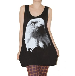 Eagle Sheer Fabric Black Indie Shirt Tank Top Size L