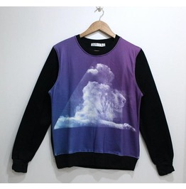 Cloud Lion Print Fashion Round Collar Sweater