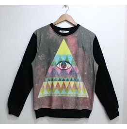 Galaxy Triangle Eye Print Fashion Round Collar Sweater