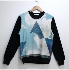 Blue Galaxy Triangle Print Fashion Round Collar Sweater