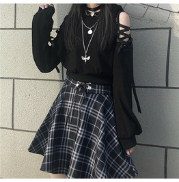 LACE UP HOODIES PLEATED SKIRTS IN AVAILBLE LFMY 6666 J8 KAWAII JK STYLE