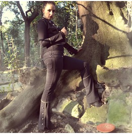 Black Cotton Slim Fit Female Pants Steampunk Trousers Military Handmade