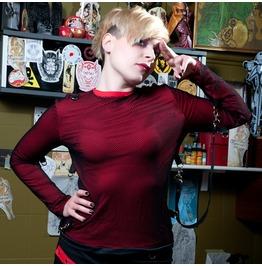 Shitsville Clothing Red Black Bondage T Shirt Long Sleeves Fishnet Punk Rock Made Italy