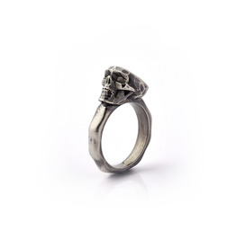 Faceted Skull Ring. Oxidized Silver.