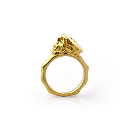 Faceted Skull Ring. Gold Plated