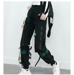 2020 Women Cargo Pants Black Ankle Length Elastic Waist Joggers Female