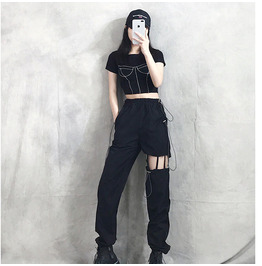Hollow Out Cargo Pants Women Casual Harlan Trousers Loose Straight Ankle