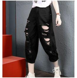 Goth Dark Pencil Pants Women Fashion Eyelet Strap Patchwork Trousers High
