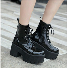Woman Lace Autumn Boots Womens Ladies Chunky Wedge Platform Black Patent