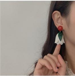Retro Hit Color Tulip Earrings Ear Clip Flower Earrings