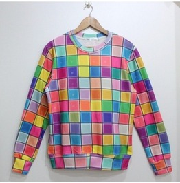 Candy Color Plaid Fashion Sweatshirts