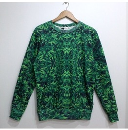 Green Leaf Print Fashion Round Collar Sweatshirt