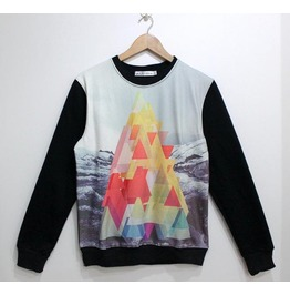 Colorful Triangle Print Fashion Round Collar Sweatshirt