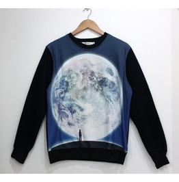 Man Vs Earth Print Fashion Round Collar Sweatshirt