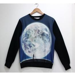 Man Vs Earth Print Fashion Round Collar Sweatshirt