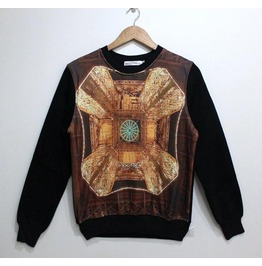 Retro Pattern Print Fashion Round Collar Sweatshirt