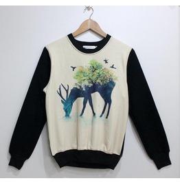 Retro Elk Print Fashion Round Collar Sweatshirt