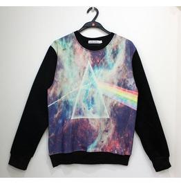 Galaxy Triangle Print Fashion Round Collar Sweatshirt
