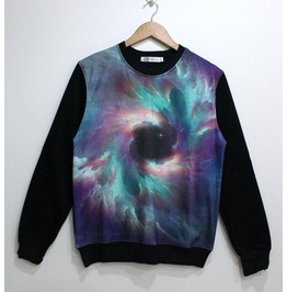 Solar Storm Print Fashion Round Collar Sweatshirt