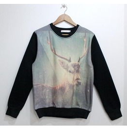 Rero Elk Galaxy Print Fashion Round Collar Sweatshirt