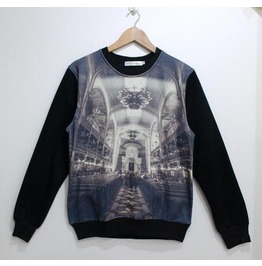 Dark Castle Print Fashion Round Collar Sweatshirt
