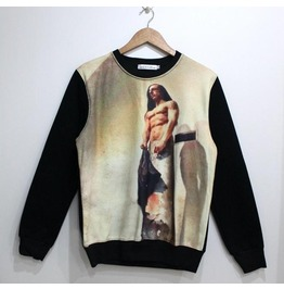 Vintage Figure Print Fashion Round Collar Sweatshirt