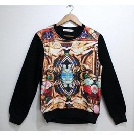 Vintage Oil Painting Print Fashion Round Collar Sweatshirt