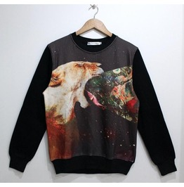 Animal War Print Fashion Round Collar Sweatshirt