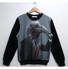 Bird Suitman Print Fashion Round Collar Sweatshirt