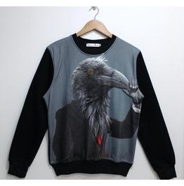 Bird Suitman Print Fashion Round Collar Sweatshirt