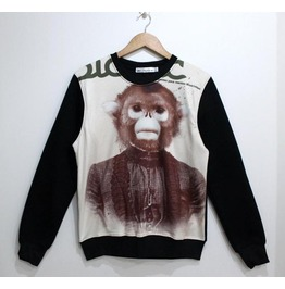 Mr Monkey Print Fashion Round Collar Sweater