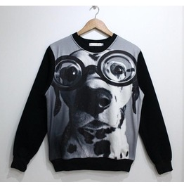 Dog Print Fashion Round Collar Sweatshirt