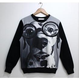 Dog Print Fashion Round Collar Sweatshirt
