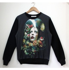 Retro Lady Print Fashion Round Collar Sweater