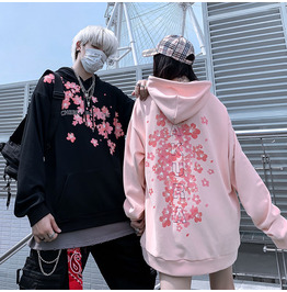 Chinese Style Cherry Blossom Hoodie Oversized Couple High Street