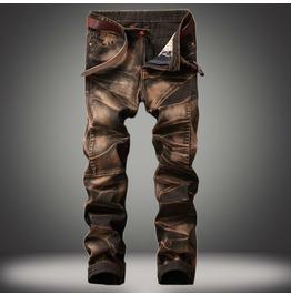 Punk Retro Distressed Jeans Men's Four-color Straight-leg Pants