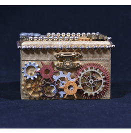 Small Steampunk Jewelry Box Gold Wooden Keepsake Box With Gears and Chain