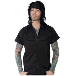 Black Snap Buttons Spiderweb Shirt