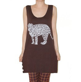 Jaguar Wild Animal Brown Stripe Tunic Tank Top Size M