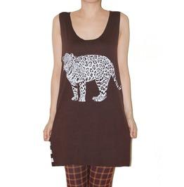 Jaguar Wild Animal Brown Stripe Tunic Tank Top Size M