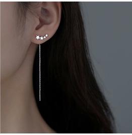 Punk Star Earrings Sterling Silver Earrings Long Earrings Design Earrings