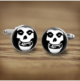 Misfits White Skull Logo Cuff Links Men,Weddings