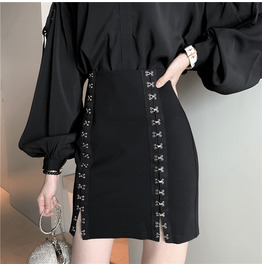 PUNK SKIRTS BLACK BLOUSE IN AVAILABLE 6666 N3 ASSORTS OUTFITS
